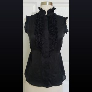 Converse Black Sheer Pleated Ruffle Blouse Size XS